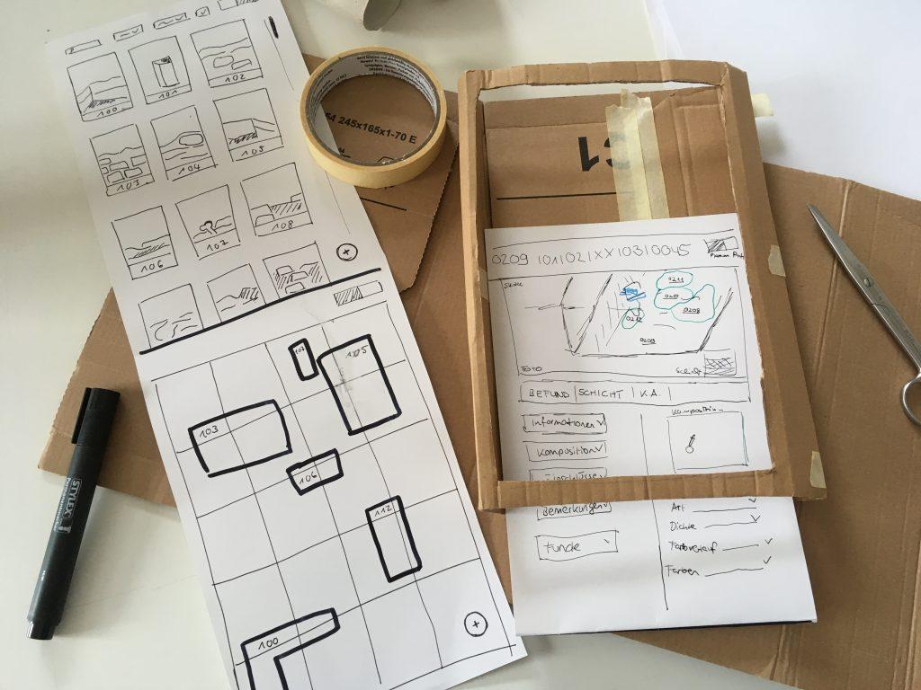 Papier-Prototyp zum schnellen Test eines Interfaces