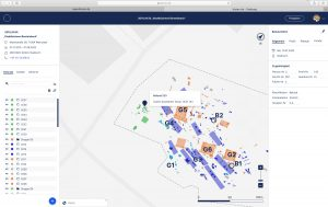 3D Darstellung einer archäologischen Grabungsübersicht im Interface von hismo