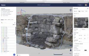 3D Darstellung eines archäologischen Befundes im Interface von hismo