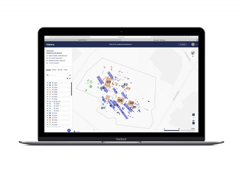 mockup von der Web desktop Anwendung von hismo, Arbeitsoberfläche für archäologische Ausgrabungen