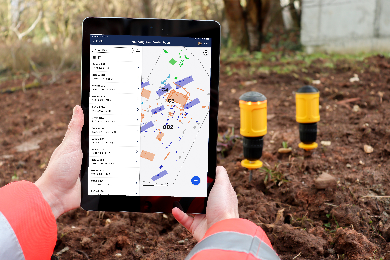 Tablet Anwendung von hismo mit Intelligenten Markierungsnägeln für archäologische Ausgrabungen