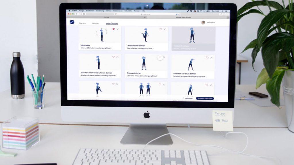 Interface von work.out, Vorschläge für Fitness. Übungen im Büro für mehr Bewegung, Statistiken über Bewegungszeit